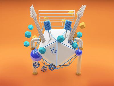 3D setup for summer festival poster festival cinema4d c4d 3d