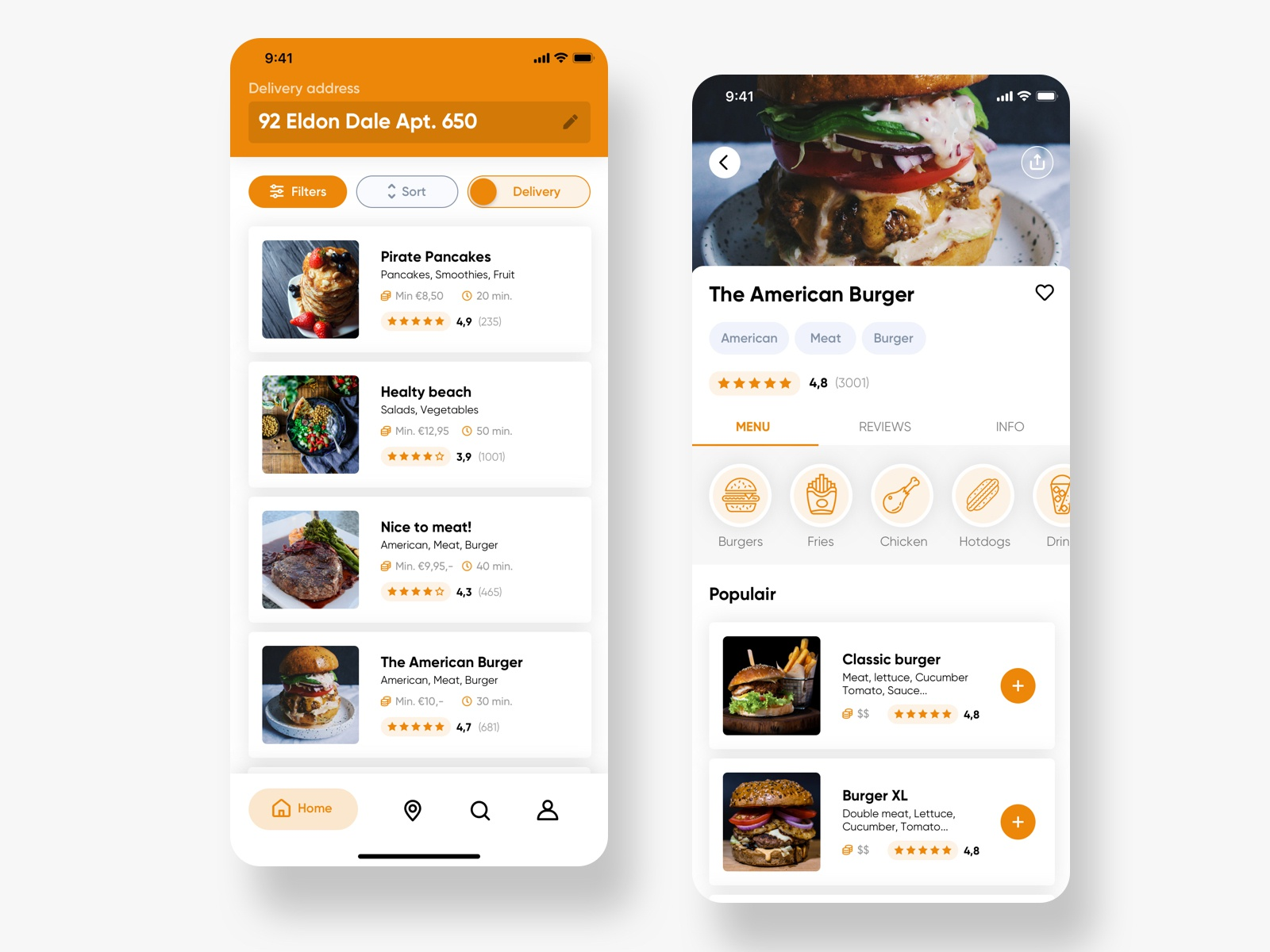 Delivery app redesign