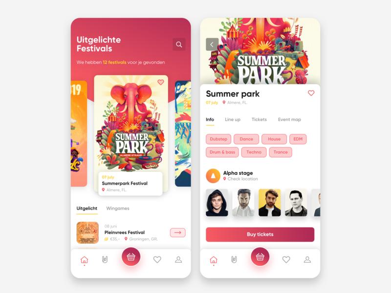 Festival app concept gradient app artist festival app festival app design ios app interface ux web ui