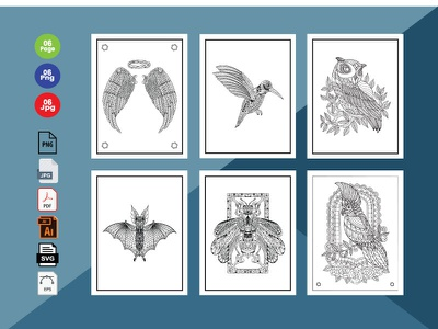 6 Bird  Coloring Book Pages KDP Interior. easter branding icon vector kids activity typography animals kids design illustration