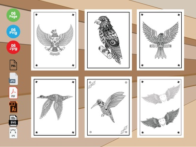 6 Bird  Coloring Book Pages KDP Interior. ui branding logo kids activity vector icon typography animals kids illustration design