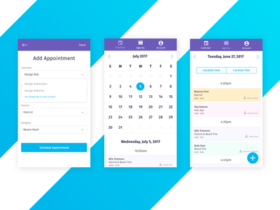 Appointment Scheduling App mobile ux mobile schedule calendar