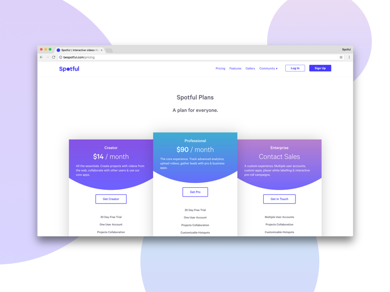 Spotful Pricing Page gradients plans pricing pricing page