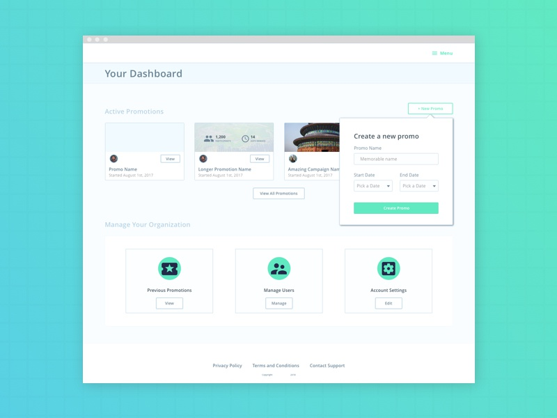 Promo Dashboard work in progress rebound web app webapp cards admin dashboard