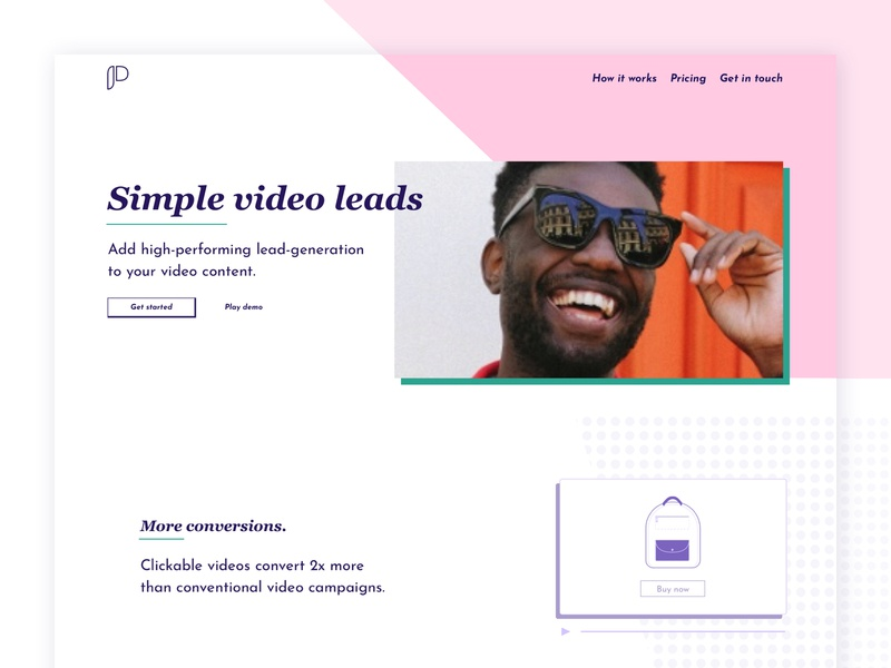 Pagesimple - Simple Video Leads Landing Page brand identity landing page design bright colors bold colors landing page concept