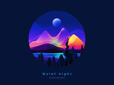 Quiet night Illustration branding ux fiction ui icon space gradient colour adventure scenery illustration landscape