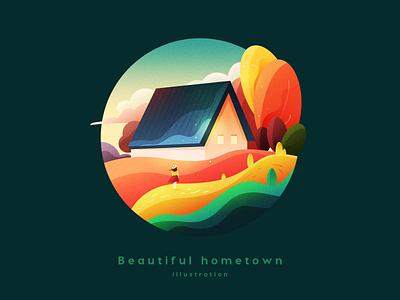 Beautiful hometown travel girl logo branding space gradient colour adventure web flat scenery ui icon landscape illustration