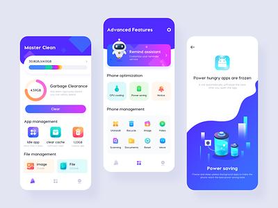 Phone Clean App safety antivirus ai robot ux logo branding space gradient colour adventure web flat ui icon illustration