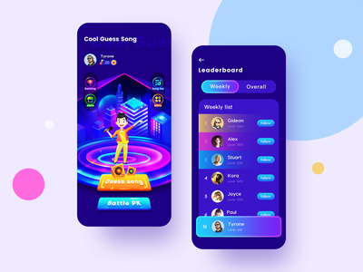 Guess Song App reward music guess song ux branding logo space gradient colour adventure web flat ui icon illustration