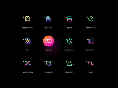 Linear icons web design product design ux logo branding space gradient colour adventure web flat ui illustration icon