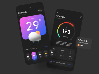 Weather App data visualization illustration pm2.5 typography mobile ios leaderboard air quality product design web ux logo branding flat icon ui