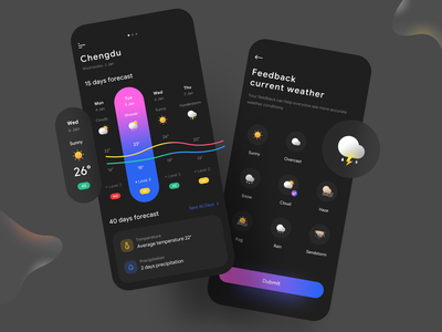 Weather App chart dark mode typography app temperature gradient ux weather ios branding logo illustration web flat icon mobile ui