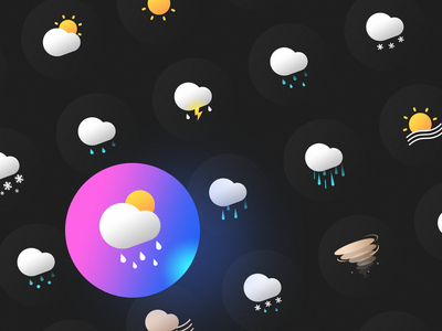 weather icons hunder and lightning snow rain ios dark mode weather icon app typography ux logo branding illustration mobile gradient weather flat ui icon