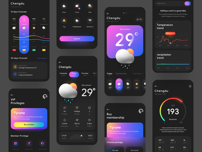 Weather App app typography gradient ux branding logo flat illustration icon mobile ui weather weather app