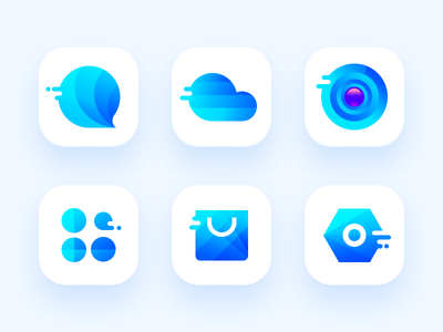 Icon Blue cart app smart branding menu scenery camera ios11 cloud logo message flat blue icon theme setting