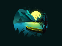Scenery illustrations night  01