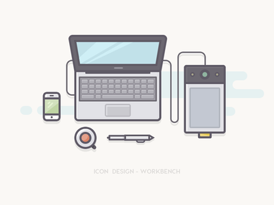 Workbench Icons icon office  leisure computer ui flat line pen plate hand-painted board digital coffee phone mobile laptop ios