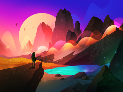 Scenery Illustration web animation adventure gradient mountain ui scenery cartoon landscape flat illustration forest lake weather tree colour moonlight theme icon branding sea app logo