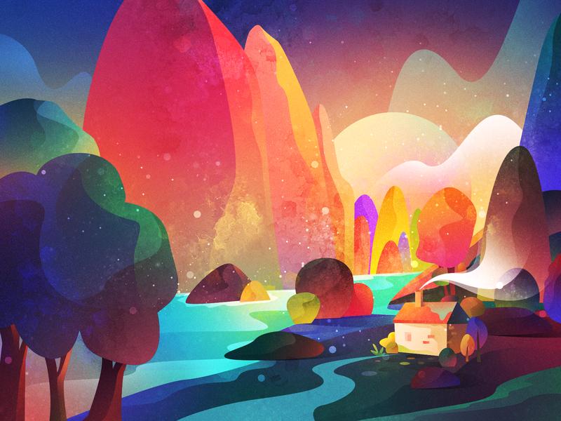 Valley Illustration universe app ux branding ui icon vector logo web flat space gradient colour adventure planet scenery landscape