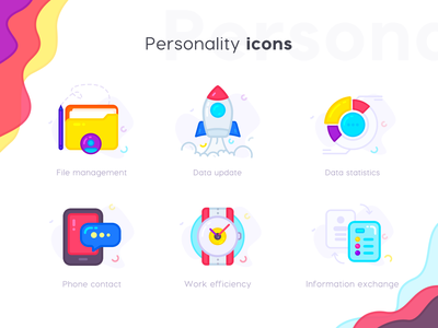 Personality Icons notes document time watch data center data chart rockets file management logo web flat ui icon illustration
