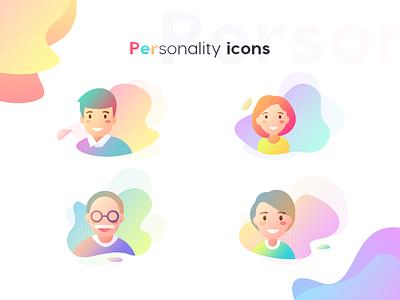 Personality Icons head portrait data center data rockets file management logo web flat ui icon illustration mobile