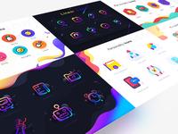 Colorful Icons gradient landscape illustration scenery icon ui web flat colour adventure logo design typography branding ux app