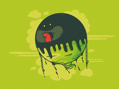 Bob The Blob bleh ugly creature ghost vector illustration smelly