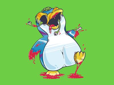 Zombie Penguin funny gore blood apocalypse art illustration vector penguin zombie