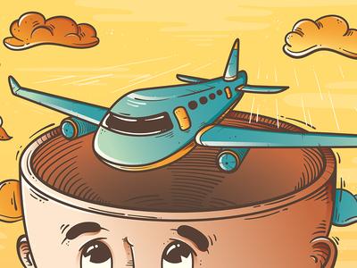 The Dream of Flying creative journey plane vector illustration aviation flying