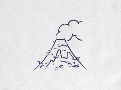 Textures experimentations (Volcano) illustration line cloud mountain smoke paper texture drawing volcan volcano