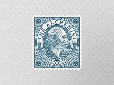 The Alchemist stamp engraving illustration alchemy earth wind fire ater portrait woodblock beard sun
