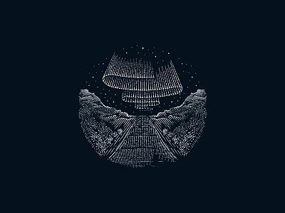 Nordic Lights northern lights norse stars night illustration woodblock engraving flash