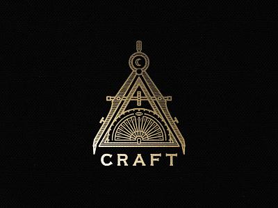 Craft Gold gold compass alchemy moon sun