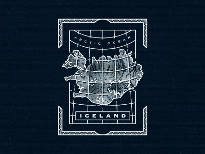 Arctic iceland aroura lines map cartography