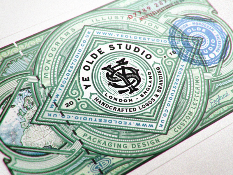 Ye Olde Note money line vintage monogram stamp globe uk