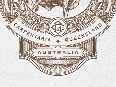 Australia monogram bull sun field star badge leaf crest reef down under
