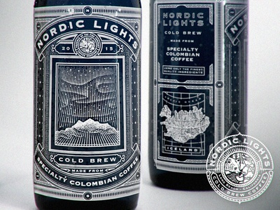 Northern Lights Mock etching engraving vintage map cold brew coffee mock up
