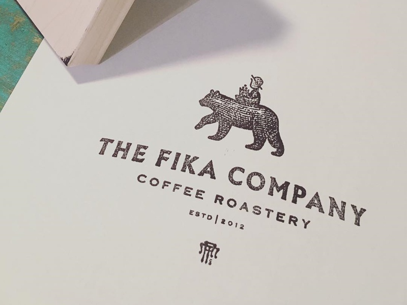 Fika Stamped gree coffee badge emblem logo vintage stamp monogram