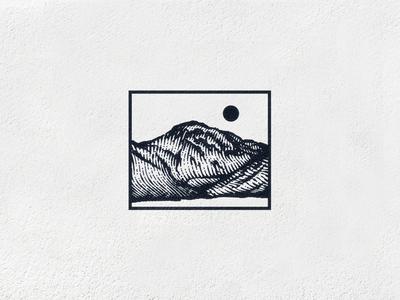 Great Gable Mountain england linework etching engraving illustration