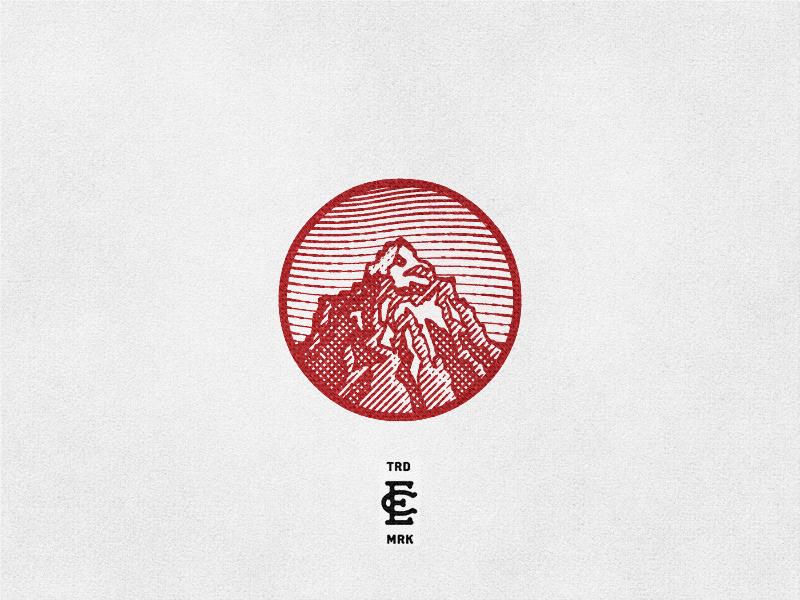 Red Rock logo monogram rock mountain linework etching engraving illustration