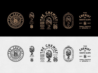 Chemist emblem badge monogram etch woodcut vintage hatching diamond glass snake poison