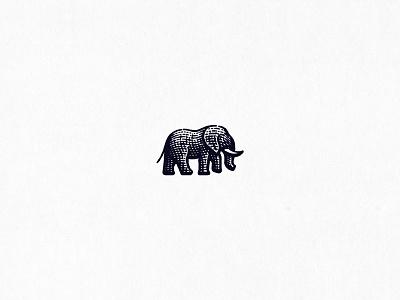 Elephant engraving etching animal elephant logo