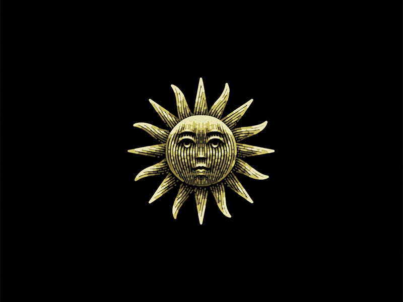 Sun etching brand vintage sun illustration graphic designer logo