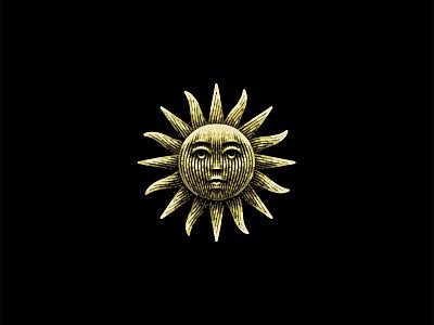 Sun etching brand vintage sun illustration graphic designer logo