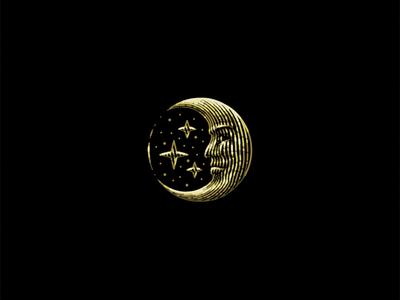 Moon scratchboard engraving etch star moon logo