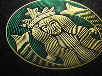 Star scratchboard etching concept logo
