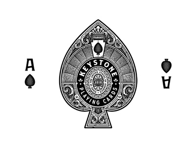 Keystone victorian etching playing cards logo ace of spades