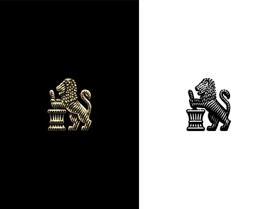 Lion vintage etching mortar pestle pharmacist lion branding logo