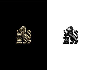 Lion vintage pharmacist pestle mortar logo lion etching branding