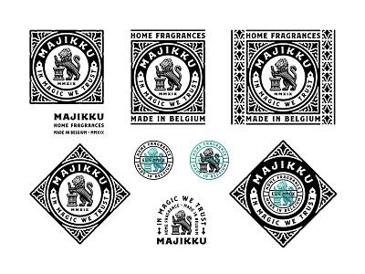 Magic branding logo vintage etching lion badge